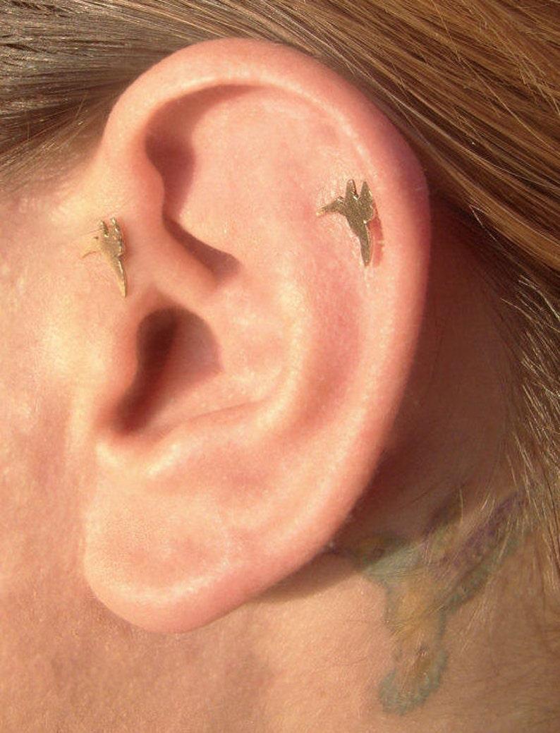 Gold stud earrings Minimalist ear pin bird nose stud Tragus Hummingbird earrings Helix 14 karat solid gold Cartilage earring