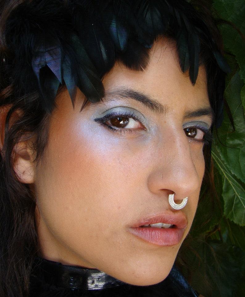Lakshmi Septum Ring Indian Nose Ring Silver Septum Etsy