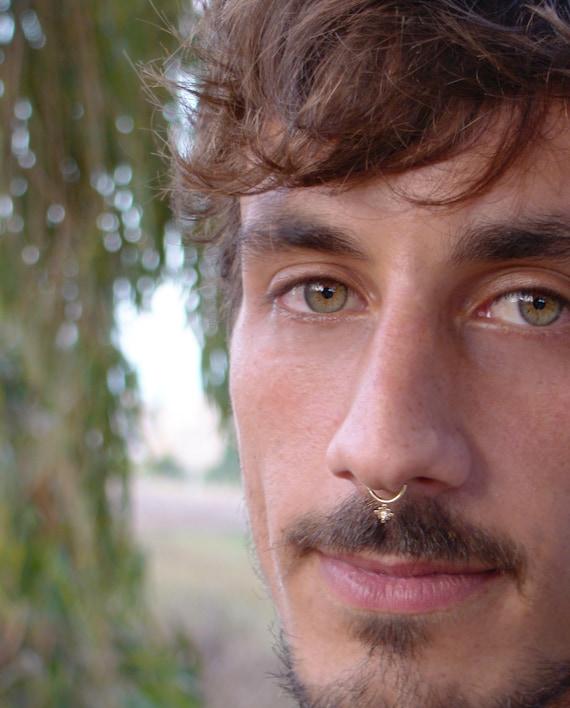 Septum For Men Diamond Septum Ring Gold Septum Ring Tribal Etsy