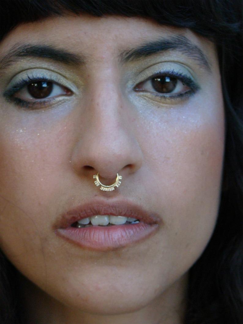 Artamis- Tragus septum piercing indian nose ring gold helix earring tribal tragus septum ring 14k gold earring nose hoop nose ring