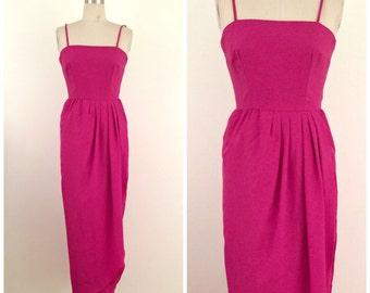 70s 80s Hot Pink Tulip Hem Maxi Dress // 1970s 80s Vintage Spaghetti Strap Wrap Gown // XSmall XS