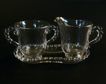 Imperial Glass Candlewick Sugar, Creamer On Tray Set Vintage USA