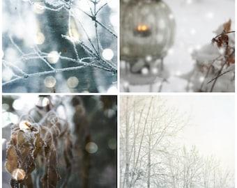 Winter photography set of four winter photography winter art winter wall art winter home decor snow wall art photo set snow decor BLIZZARD