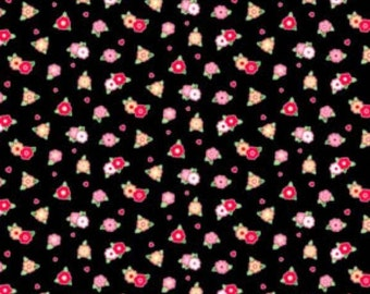 Pam Kitty - Tiny Floral on Black