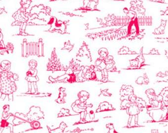 Pam Kitty Garden - Red on White Toile