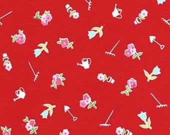 Pam Kitty - Garden Tools and Flowers on Red