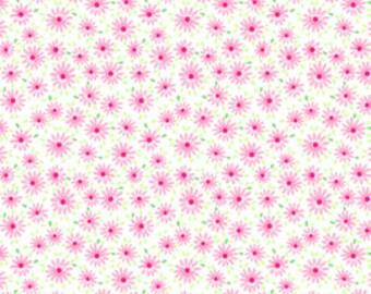 Pam Kitty - Mini Daisy Toss - Sweet Pink Flowers on White