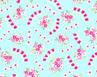 Pam Kitty Garden - Aqua Posie Swirls