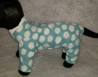 Fleece Dog Pajamas, Polka Dot Fleece Dog Pajamas, Dog CLothing, Dog Apparel