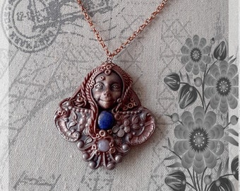 """Spiritual pendant necklace """"forest sprite 2"""", lapis lazuli, amethyst, clay, polymer, lithotherapy, wicca, sprite, esotericism"""