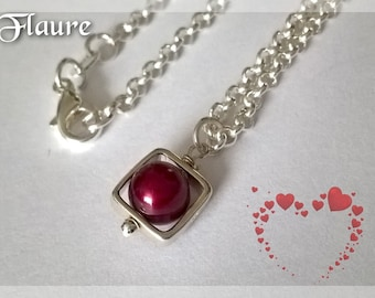 Silver 925 pendant necklace and cultured pearl, silver jewelry, pearl jewelry culture, gift idea