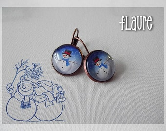 "Copper earrings cabochons ""snowman"""