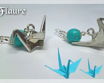 Origami crane earrings and turquoise beads, origami jewelry, turquoise, jewelry gifts,