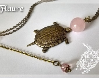 Turtle necklace in bronze and big pearl in pink quartz, turtle necklace, pink quartz, lithotherapy, reiki, wicca, energy stone, chakras