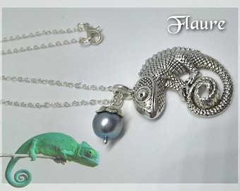 """Silver necklace """"chameleon"""" and cultured pearl, cultured pearl jewelry, chameleon jewelry, gift idea"""