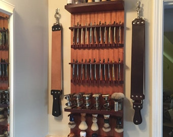 The Zilla Connoisseur- 16 Safety or 22 Straight Razor 10 Brush Wall 3 Shelf Hanging Display