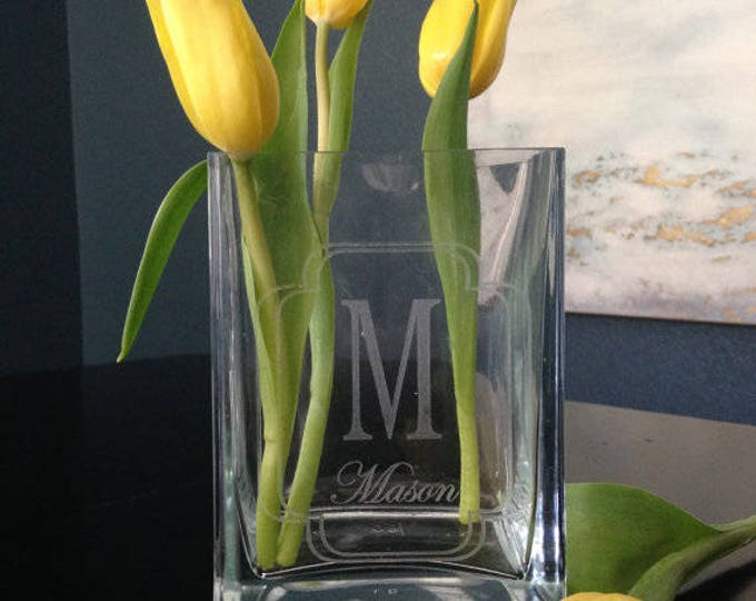Personalized Vase - Real Estate Closing Gift, Personalized Housewarming Gift, Personalized Wedding Gift, Square Glass Vase, Wedding Vase