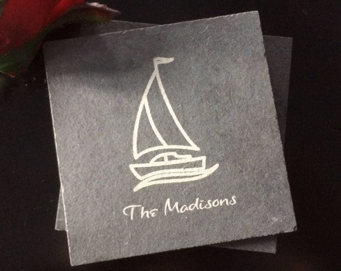 Personalized Slate Sailboat Coasters