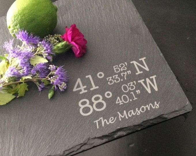 Personalized Slate Cheese Board - Real Estate Closing Gift, Personalized Housewarming Gift, GPS Cheese Board, GPS Gift