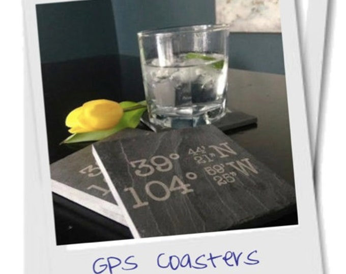 Personalized Slate Coasters - Real Estate Closing Gift, Personalized Engagement Gift, GPS Gift, GPS Coasters