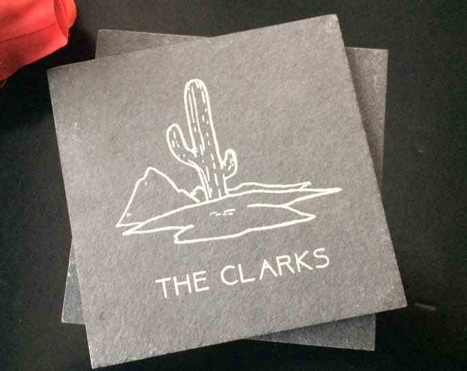 Personalized Slate Coasters - Realtor Closing Gift, Southwestern Gift, Cactus-Themed Gift, Desert-Themed Gift, Arizona Gift