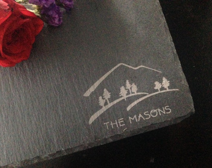 Personalized Slate Cheese Board - Custom Cheese Board, Real Estate Closing Gift, Mountain Gift, Hiking Gift