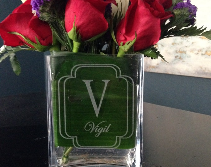 Personalized Vase - Real Estate Closing Gift, Personalized Housewarming Gift, Personalized Wedding Gift, Square Glass Vase, Wedding Vase