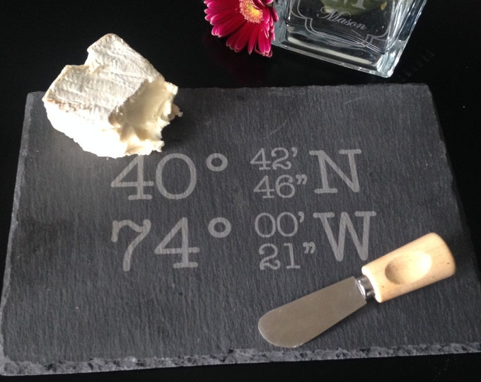 Personalized Slate Cheese Board - Real Estate Closing Gift, Personalized Housewarming Gift, GPS Gift, GPS Cheese Board