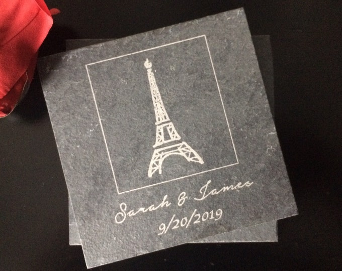 Personalized Slate Coasters - Eiffel Tower Coasters, Eiffel Tower Wedding Gift, Paris Coasters, Personalized Wedding Favor,