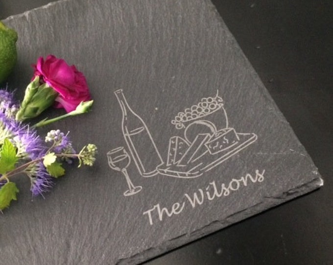 Personalized Slate Cheese Board - Real Estate Closing Gift, Personalized Housewarming Gift, Personalized Wedding Gift