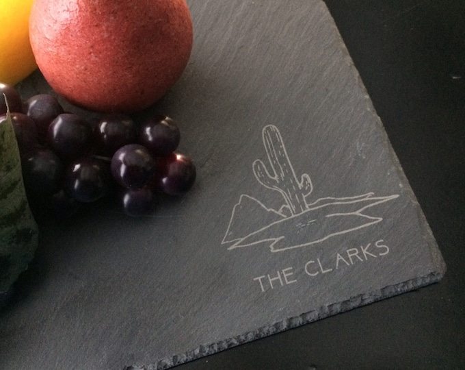 Personalized Slate Cheese Board - Custom Cheese Board, Real Estate Closing Gift, Southwest Gift, Desert Gift, Cactus Gift