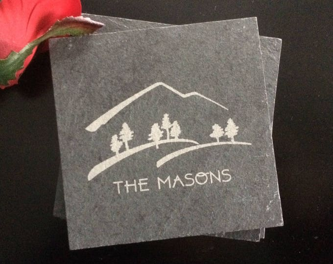 Personalized Slate Coasters - Realtor Closing Gift, Mountain Gift, Hiking Gift