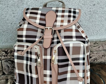 a386dd5a093cbe Backpack Women - Rucksack Canvas - Unisex Burberry Style - Chequered  Backpack