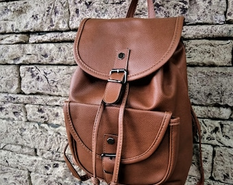 Small Leather Backpack Women Cognac Brown Backpack Vintage Leather Rucksack 7a7239157b