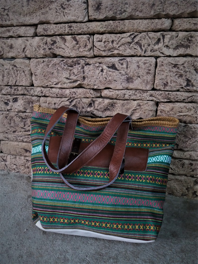 Woman Tote Bag Canvas Leather Handles