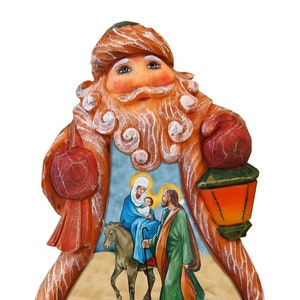 Santa Figurine Nativity Santa Derevo Collection By G Debrekht Etsy