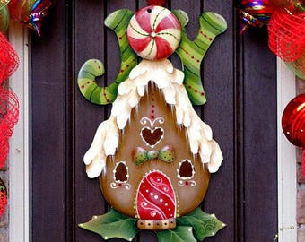 sale christmas decor joy gingerbread bird house wooden door hanger by jamie mills price wall decor 8457507h - Gingerbread House Christmas Decorations