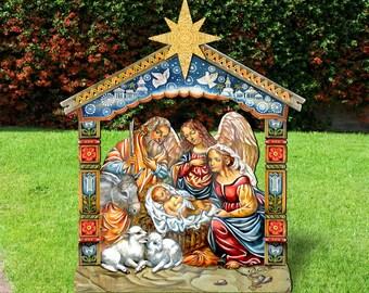 Outdoor Christmas Decorations NATIVITY   Outdoor Nativity Scene   Nativity  Set   Yard Lawn Sign 8114031F