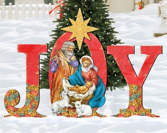 outdoor christmas decorations nativity rustic holiday decor outdoor nativity set joy nativity large 8121456f