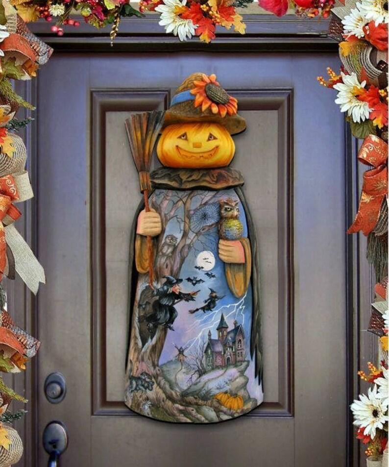 Fall Decor Outdoor Halloween Pumpkin Scarecrow Wooden Door Etsy