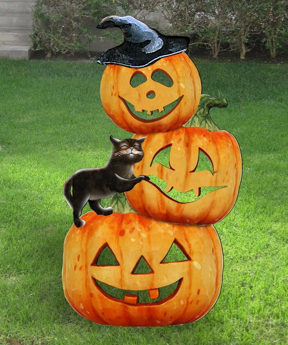Fall Decor Outdoor Halloween Spooky Pumpkins Wooden Free Standing Outdoor Decoration By Jamie Mills Price 8158415f
