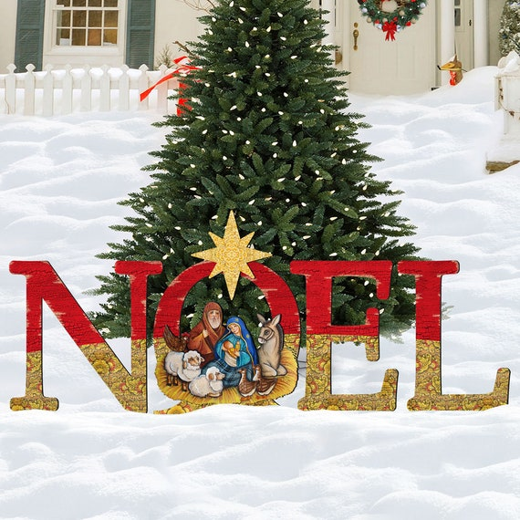 Nativity Outdoor Christmas Decorations.Outdoor Christmas Decorations Nativity Rustic Holiday Decor Nativity Noel Wooden Free Standing Christmas Outdoor Decoration 8121458f