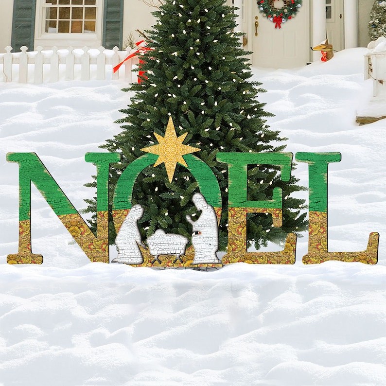 Outdoor Christmas Decorations Nativity Rustic Holiday Decor Etsy