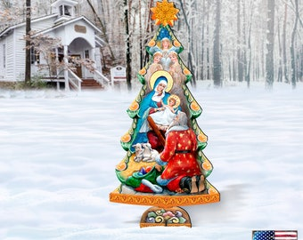 Outdoor Nativity Scene - Nativity Tree Wooden Freestanding Décor by G. DeBrekht 8128833F