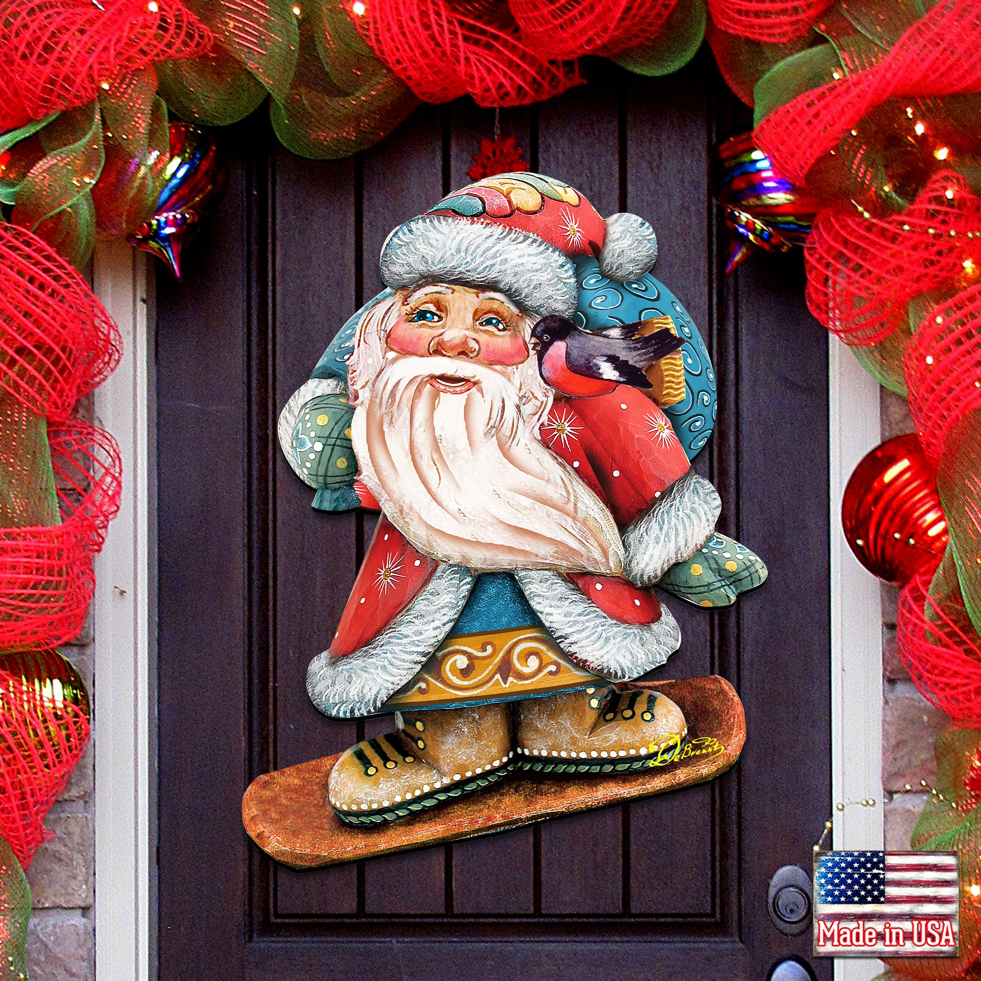 Outdoor Christmas Decorations   SALE Snowboarding Santa Wooden Decorative  Holiday Wall Hanger 20H