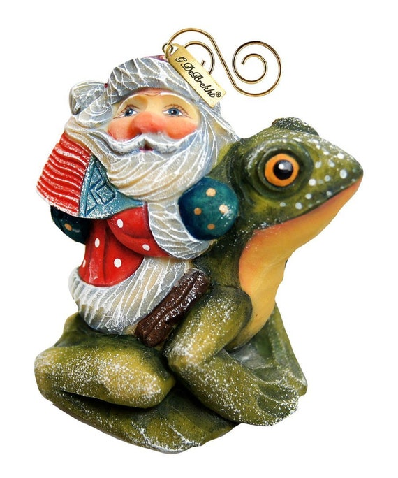 Christmas Ornaments Holiday Ornaments Santa On Frog Etsy