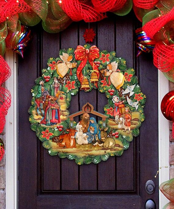 Christmas Nativity Set Outdoor.Sale Nativity Wreath Outdoor Nativity Scene Nativity Wooden Decorative Christmas Door Hanger Wall Decor 8185314h