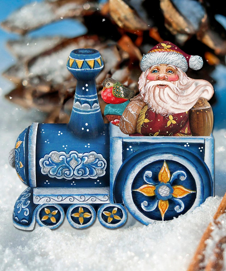 Outdoor Christmas Decor Santa On A Train Yard Art Etsy