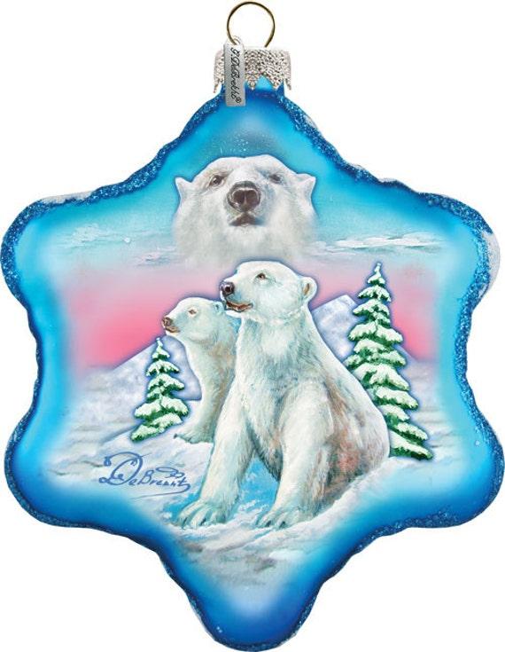 Ours blanc flocon de neige ornement - scène de Noël peintes à la main ancien monde - verre Vintage Holiday ornement gratuit personnalisé (754-001)