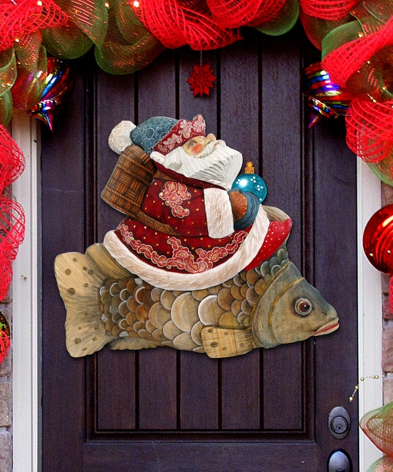 Holiday Decoration Outdoor Christmas Decorations Santa Front Door Decor Santa On A Fish Wooden Door Hanger Wall Hanger 8121635h
